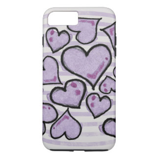 Corazones púrpuras de la acuarela funda iPhone 7 plus