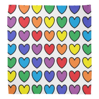 Corazones resumidos negro del arco iris bandana