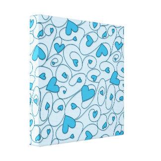 Corazones rizados azules impresión en lienzo