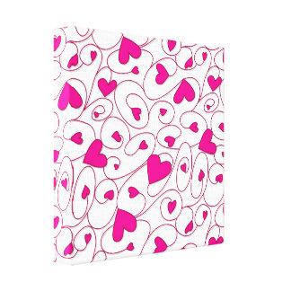 Corazones rizados del rosa y blancos impresión en lienzo
