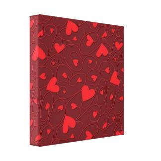 Corazones rizados rojos impresión en lienzo