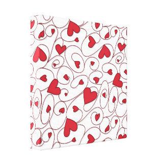 Corazones rizados rojos y blancos impresión en lienzo