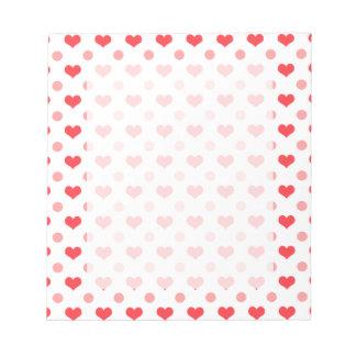corazones rojos del amor, modelo de lunares del bloc de notas