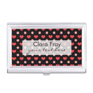 corazones rojos del amor, modelo de lunares del caja para tarjetas de visita