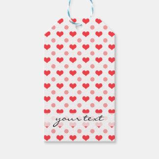 corazones rojos del amor, modelo de lunares del etiquetas para regalos