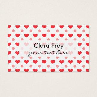corazones rojos del amor, modelo de lunares del tarjeta de negocios