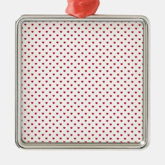 Corazones rojos del lunar del caramelo del lápiz adorno cuadrado plateado