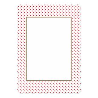 Corazones rojos del lunar del caramelo del lápiz invitación 12,7 x 17,8 cm