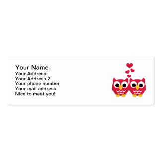 Corazones rojos del rojo de los búhos tarjeta de visita