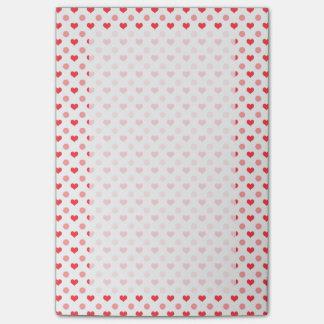 corazones rojos elegantes y modelo de lunares notas post-it®