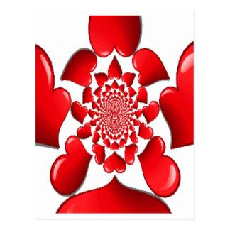 Corazones rojos grandes de la tarjeta del día de S Tarjetas Postales