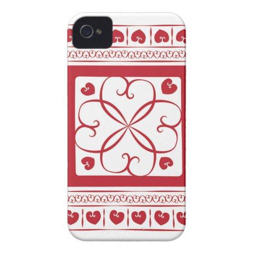 Corazones rojos por todas partes Case-Mate iPhone 4 protectores
