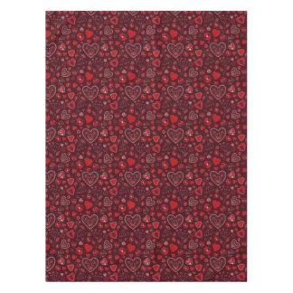Corazones rojos y mantel de encargo del algodón de