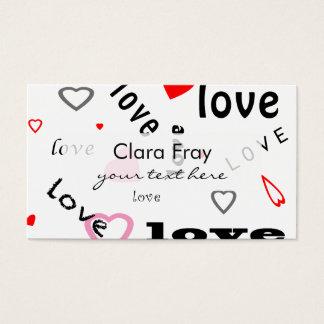 corazones rojos y rosados del amor del diseño del tarjeta de negocios