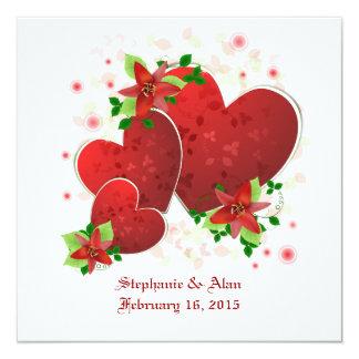 Corazones románticos rojos que casan la invitación