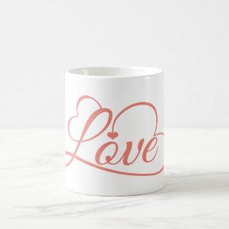 Corazones rosa y blanco del amor taza de café