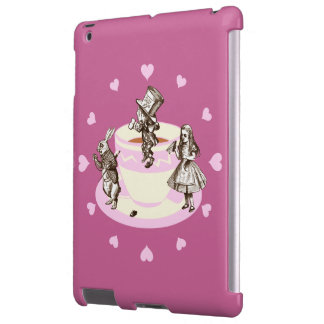 Corazones rosados alrededor de una fiesta del té e funda para iPad