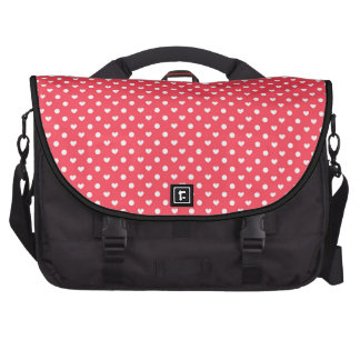 Corazones rosados de la polca bolsas de portátil