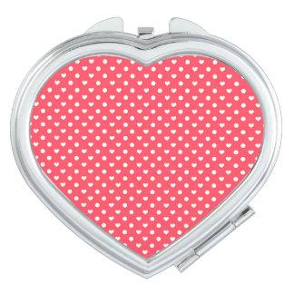 Corazones rosados de la polca espejo para el bolso