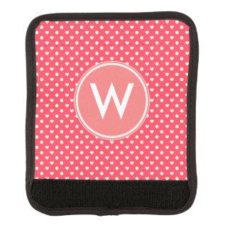 Corazones rosados de la polca cobertura para asa de maleta