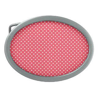 Corazones rosados de la polca hebillas cinturon ovales