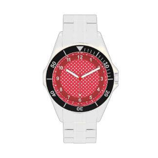 Corazones rosados de la polca reloj de mano
