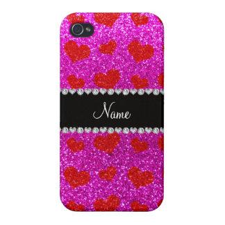 Corazones rosados de neón conocidos de encargo del iPhone 4 coberturas