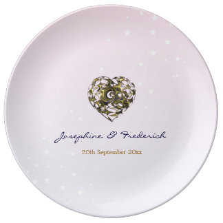 Corazones rosados del boda plato de porcelana