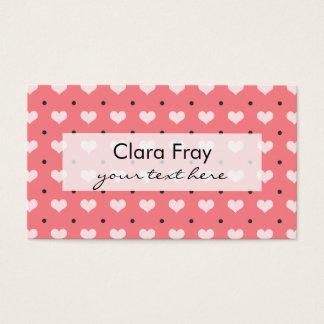 corazones rosados en colores pastel del amor, tarjeta de negocios