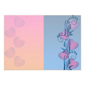 Corazones rosados expresivos y floral azul comunicado personal