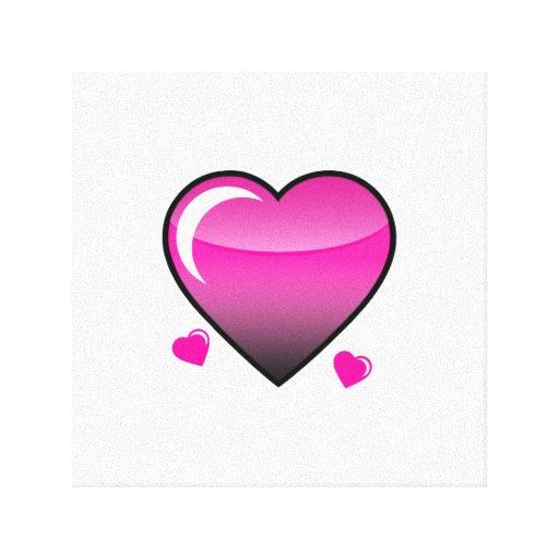 Corazones rosados impresiones en lienzo estiradas