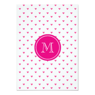Corazones rosados mexicanos del brillo con el invitación 12,7 x 17,8 cm