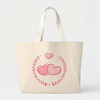 Corazones y amor rosados de la guirnalda del bolso de tela gigante