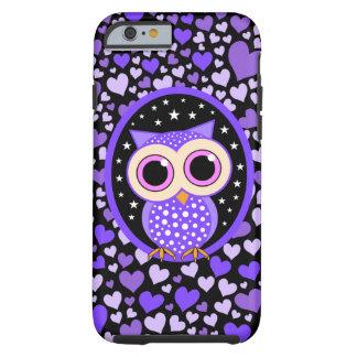 corazones y búho púrpura funda de iPhone 6 tough