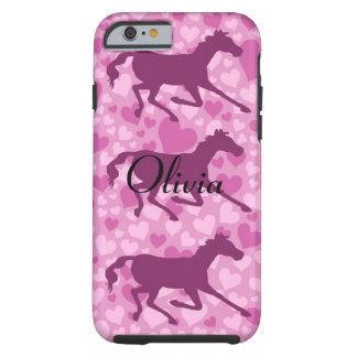 corazones y caballos funda para iPhone 6 tough