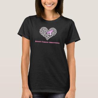 Corazones y camisa de la conciencia del cáncer de
