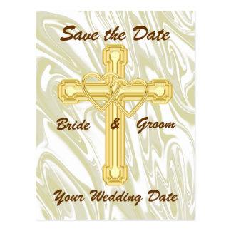 Corazones y cruz entrelazados del oro tarjetas postales