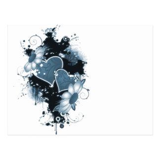 Corazones y flores dobles - azul postales