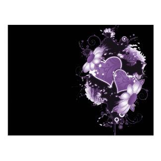 Corazones y flores dobles - púrpura postal