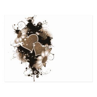 Corazones y flores dobles - sepia Brown Postal