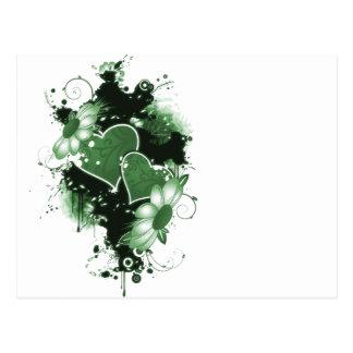 Corazones y flores dobles - verde postales