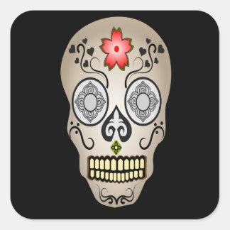 Corazones y flores Halloween del cráneo del azúcar Pegatina Cuadrada