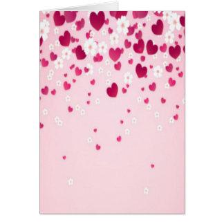 corazones y flores tarjeta de felicitación
