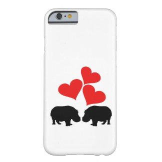 Corazones y hipopótamos funda barely there iPhone 6