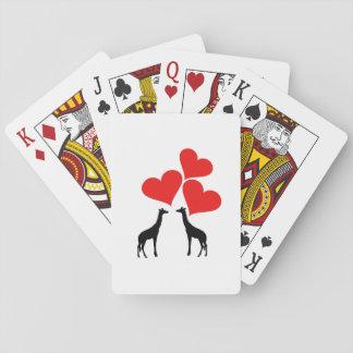 Corazones y jirafas barajas de cartas