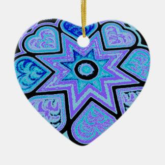 Corazones y ornamento azules eléctricos de las est ornamente de reyes