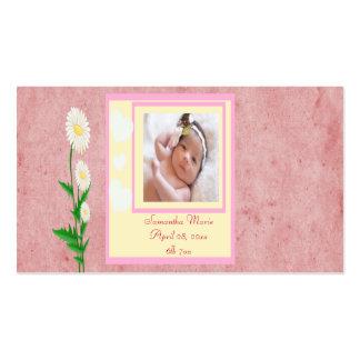 Corazones y recuerdo de la foto de la niña de las  tarjeta de visita