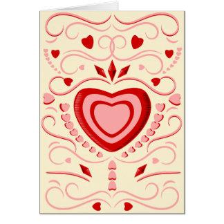 Corazones y volutas del caramelo tarjeta de felicitación
