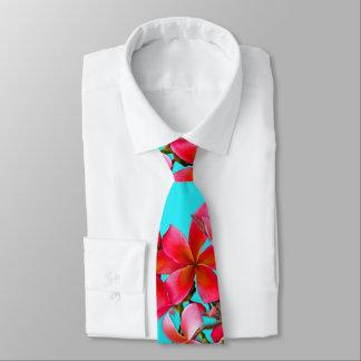 Corbata Aguamarina e impresión hawaiana del Plumeria del