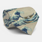 Corbata Arte asiático - la gran onda de Kanagawa